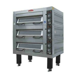 New Bakemax Bmtdoo1 75 Electric Single Deck Pizza Bread Bake Three Pans Wide
