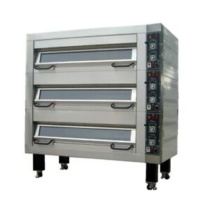 New Bakemax Bmfdoo1 92 Electric Single Deck Pizza Bread Bake Four Pans Wide