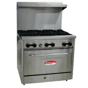 New Bakemax Bas 360 36 Six Burner W oven Gas Or Lp Comm Range 210 000 Btu s
