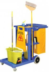 Medium Janitor Cart Janitorial Clean Up With Zippered 25 Gal Vinyl Bag And Lid