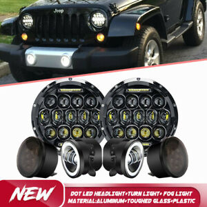7 Led Headlight Turn Signal Fog Light brake Lamp Kit 2007 17 For Jeep Wrangler