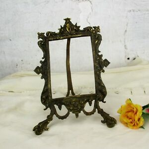 Large Vintage French Standing Brass Embossed Oval Picture Frame Ornate Rococo