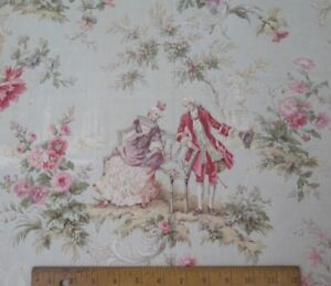 Antique 19thc French Marie Antoinette Style Toile Cotton Yardage 3yds4 Lx31 W