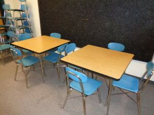 Sale Retro Old School Small Cafe Restaurant 4 Tables 18 Blue Chairs Look Xlnt