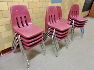 16 Virco Maroon Stackable Plastic Chairs School Chairs Charter Adult Classroom