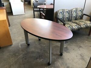 54 w Oval Shape Mobile Side Table By Turnstone Steelcase W Cherry Laminate Top