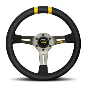Momo Steering Wheel 330mm Mod Drift Black Suede W dual Yellow Center R1907 33s