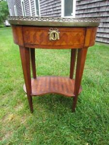 Antique Country French Satin Wood Marble Top 1 Drawer Lamp Table Stand