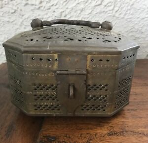 Antique Beautiful Brass Betel Nut Box Vintage Made In India Spice Lime