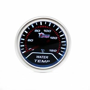 Car 2 52mm Water Temp Temperature Gauge Meter 12v Universal Smoke Lens Led