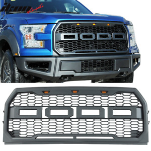Fits 15 17 Ford F150 Raptor Style Front Bumper Hood Mesh Led Grille Replacement
