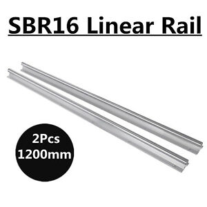2x 16mm Sbr16 1200mm Linear Rail Fully Supported Slide Shaft Rod Guide Us Stock