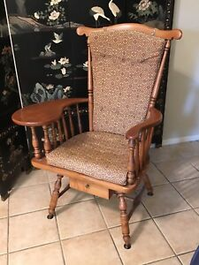 Mid Century Modern Heywood Wakefield Wood Chair Usa Vintage Wooden Sewing Seat 1