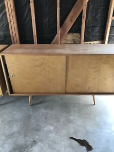 Vintage Paul Mccobb Mid Century Modern Maple Cabinet With Sliding Doors