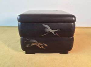 Lacquer Wood 2 Tier Bento Box Old Black Painted Cranes Red Interior Jubako Vtg