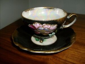 Dark Royal Sealy China Japanese Floral Pattern Teacup Saucer