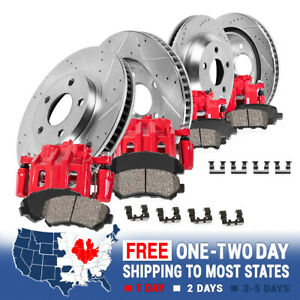 Front Rear Red Brake Calipers And Rotors Ceramic Pads For Chevy Gmc