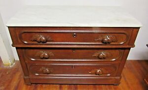 Antique Victorian Dresser With Marble Top And Secret Drawer