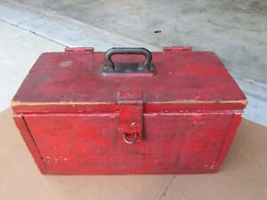 Vintage Primitive Wood Tool Box Hand Painted Red White Old Metal Handle