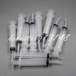 12cc Dental Disposable Irrigation Syringe Curved Tip Tightly Utility Hobby Tools