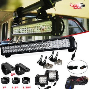 Excavator Crane Tractor 23inch Led Light Bar cage Clamp 2x 36w Driving Fog Lamps