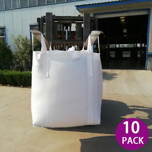 Pack 10 Heavy Duty Fibc Bulk Ton Bag Swl 2200lb 35x35x43 Duffle Top Flat Bottom