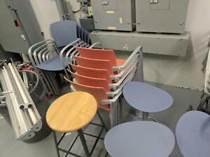 Lot Of 38 Office Event Conference Cafeteria Stackable Aluminum Cha