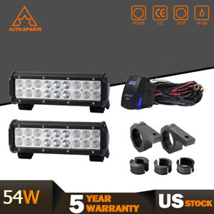 9inch Led Fog Light Bar 54w Off Road Truck Tractor Jeep Suv Dodge Ford 4wd Combo