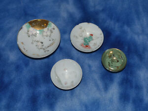 Lot Of 4 Vintage Some Signed Painted Chinese Porcelain Miniature Bowls Chipped