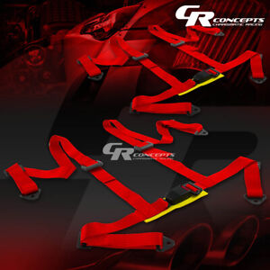 2 X Universal 4 Point 2 Nylon Strap Racing Harness Buckle Seat Belt Belts Red