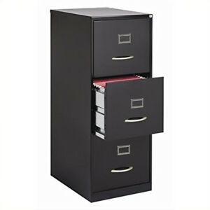 25 d Three drawer File Cabinet Storage Filing Black Grey Vertical Office