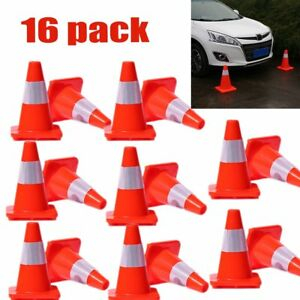 16 Pcs 12 Pvc Traffic Cones W Safety Signage Road Reflective Collar Oy