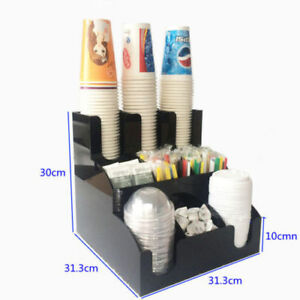 Cup Lid Dispenser Organizer Coffee Condiment Holder Caddy Coffee Cup Racks