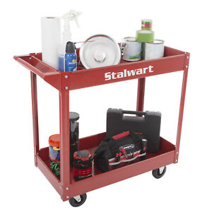 Metal Service Storage Utility Cart Shelves Heavy Duty Supply Cart W Two Tray