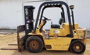 Caterpillar 8 000lb V80e Perkins Gasoline 3 stage Forklift Two Speed Sideshift