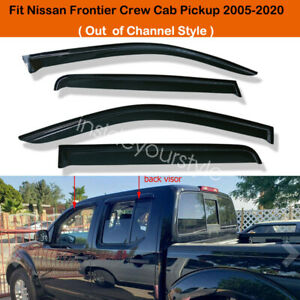 Sun Rain Guard Shade Window Visors For 2005 2018 Nissan Frontier Crew Cab Pickup