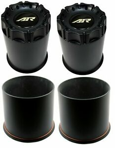 4x American Racing Ar Black Center Hub Caps Push thru 8 Lug For 4x4 Ar901 Ar910