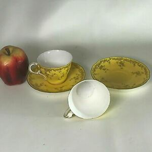 Antique Royal Worcester Yellow Gold Decorated Tea Cup Saucer