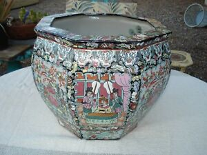 Antique Huge Chinese Porcelain Octagon Fish Bowl 19th Century