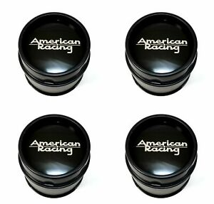 4 American Racing Black Wheel Center Hub Caps 5l Ar910 Ar901 Ar969 Ansen Offroad