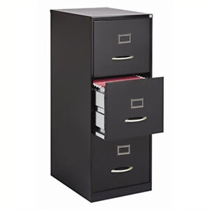 3 Drawer Sturdy Metal Black Grey Vertical File Cabinet Storage Office Essential