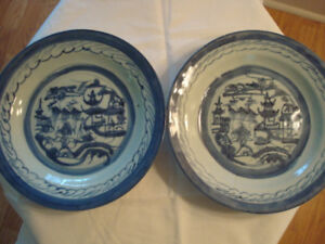 2 Chinese Canton Export Blue White Shallow Bowls 1830 Asian Antique Dishes As Is