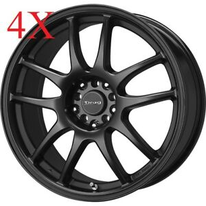 Drag Dr31 17x7 4x114 4x100 Matte Black Rims S14 S13 Prelude Celica Accord Wheels