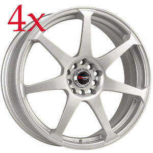 Drag Wheels Dr 33 14x5 5 4x100 4x114 35 Silver Rims For Sentra Corolla Civic Ex