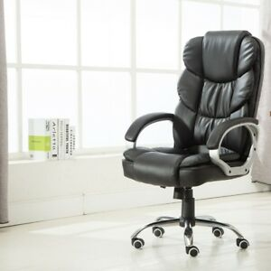 Office High Back Pu Leather Back Meeting Room Swivel Chair Cushion Seat Armrests