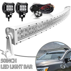 White Led Light Bar 52 50 Curved Pods Wiring For Jeep Cherokee Xj 1984 2001
