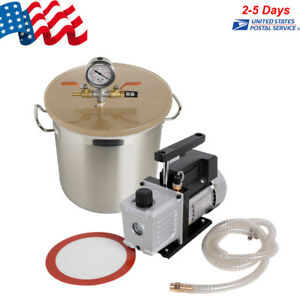 5 Gallon Stainless Steel Vacuum Degassing Chamber Silicone W 3 Cfm Pump Us Stock