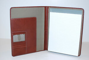 Johnston Murphy Padfolio With Letter Size Notepad Mahogany Leather Portfolio