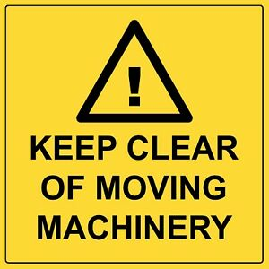 Keep Clear Of Moving Machinery Caution Aluminium Safety Hazardous Warning Sign