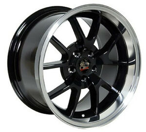 18 Ford Mustang Fr500 Style Rims Wheels Staggered Black And Machine Set Of 4